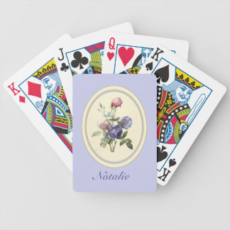 Monogrammed Vintage Pink Roses and Purple Flowers Bicycle Playing Cards