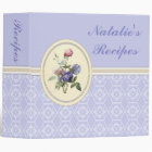 Monogrammed Vintage Pink Roses and Purple Flowers Binder