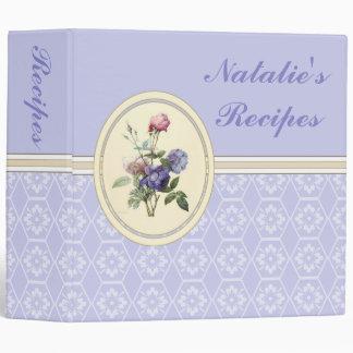 Monogrammed Vintage Pink Roses and Purple Flowers Vinyl Binders