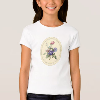 Monogrammed Vintage Pink Roses and Purple Flowers T-Shirt