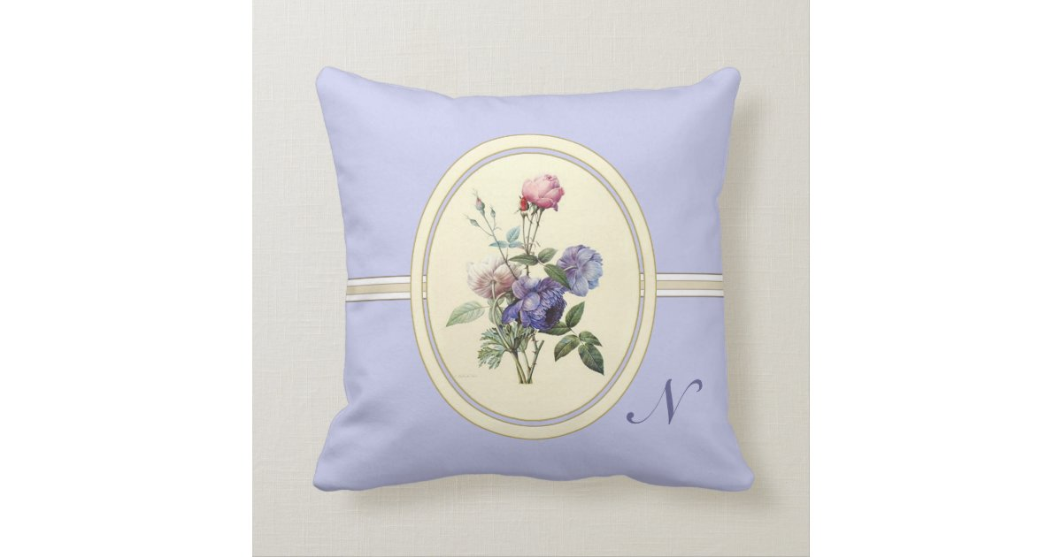 Monogrammed Vintage Pink Roses and Purple Flowers Throw Pillow Zazzle