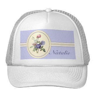 Monogrammed Vintage Pink Roses and Purple Flowers Trucker Hat