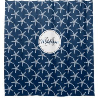 Monogrammed Vintage Starfish Nautical Beach House Shower Curtain