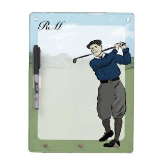 Monogrammed Vintage Style golf art Dry Erase Board