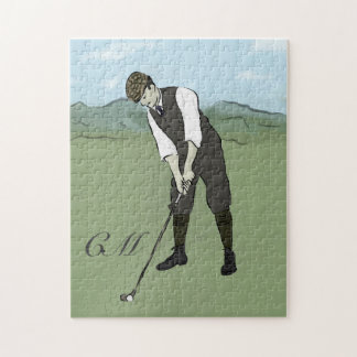 Monogrammed Vintage Style golf art Jigsaw Puzzle