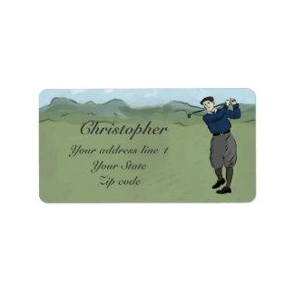 Monogrammed Vintage Style golf art Address Label