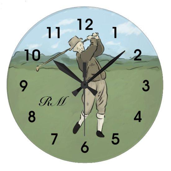 Monogrammed Vintage Style golf art Large Clock