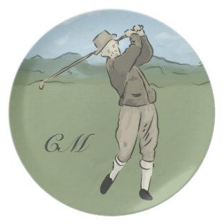Monogrammed Vintage Style golf art Melamine Plate