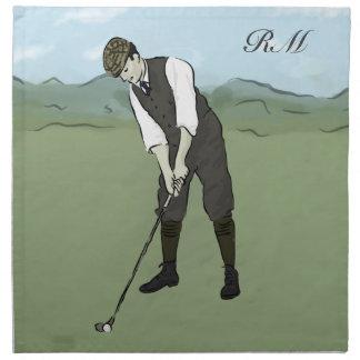 Monogrammed Vintage Style golf art Napkin