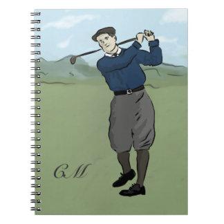 Monogrammed Vintage Style golf art Spiral Note Books