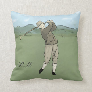 Monogrammed Vintage Style golf art Throw Pillows
