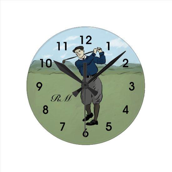 Monogrammed Vintage Style golf art Round Clock