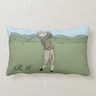 Monogrammed Vintage Style golf art Throw Pillow