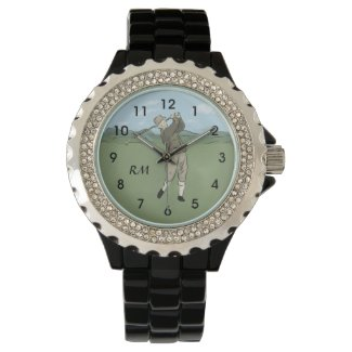 Monogrammed Vintage Style golf art Wrist Watch