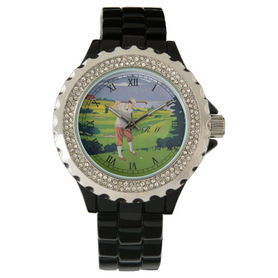 Monogrammed Vintage Style golf art Wristwatch