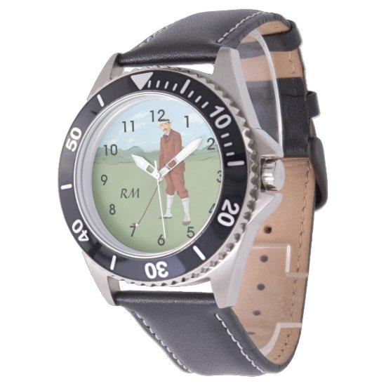 Monogrammed Vintage Style golfer Wristwatch