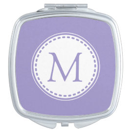 Monogrammed Violet Tulip Compact Mirror