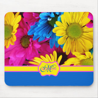 Monogrammed Vivid Cheery Daisies Pink Yellow Blue Mouse Pad
