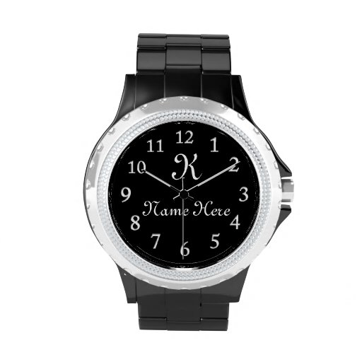 MONOGRAMMED Watch Black Face Watches For Women Zazzle