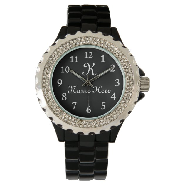 monogrammed watch  black face watches for women