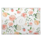 Monogrammed Watercolor Floral Pattern Cloth Placemat