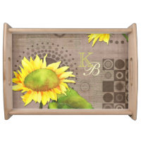 Monogrammed Watercolor Sunflowers Serving Tray