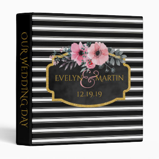 Monogrammed Wedding | Black White Striped Floral 3 Ring Binder