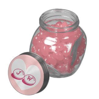 Monogrammed wedding candy jar   pink heart lid glass candy jars