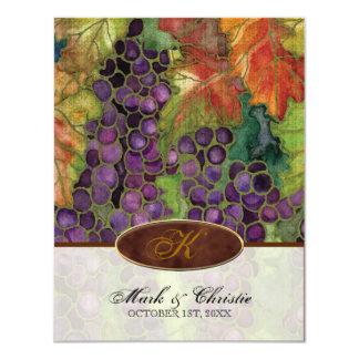 Monogrammed Wedding Invitation Autumn Grape Leaf