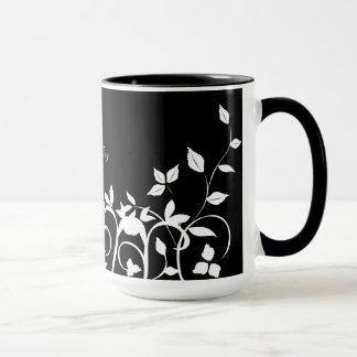 Monogrammed Wedding Mug - Black White Floral