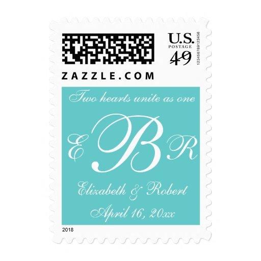 Monogrammed Wedding Postage Stamps