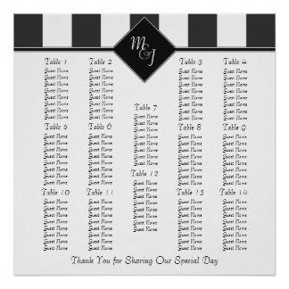 Monogrammed Wedding Reception Seating Chart