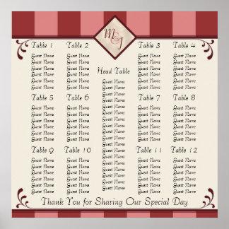 Monogrammed Wedding Reception Seating Chart Print