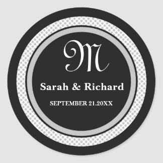 Monogrammed Wedding Stickers:Black Polka Dots Classic Round Sticker