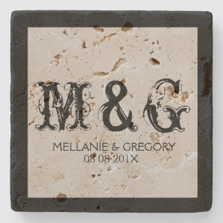 Monogrammed Wedding Text Design Stone Coaster