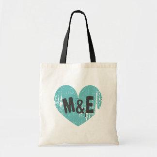 Monogrammed wedding tote bag with vintage heart budget tote bag