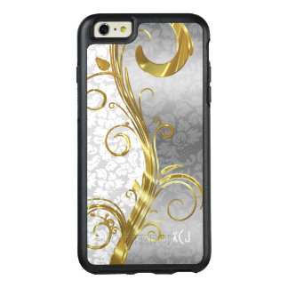 Monogrammed Whit And Silver Floral Damask Pattern OtterBox iPhone 6/6s Plus Case