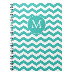 Monogrammed White and  Aqua Chevron Notebook