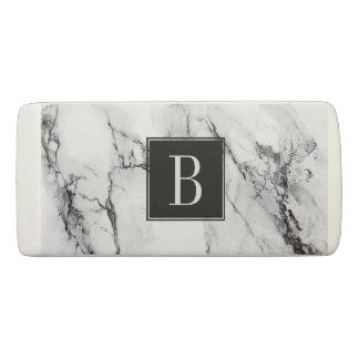 Monogrammed White And Black Marble Stone Eraser