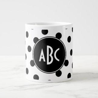 Monogrammed White and Black Polka Dots Giant Coffee Mug