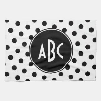 Monogrammed White and Black Polka Dots Kitchen Towels