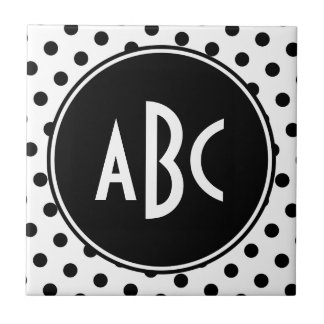 Monogrammed White and Black Polka Dots Tile