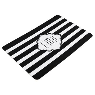 Monogrammed White And Black Stripes