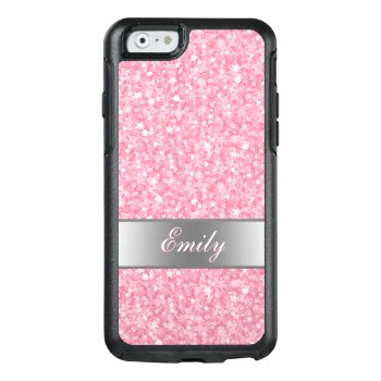 Monogrammed White And Pink Glitter Otterbox Iphone 6/6s Case by gogaonzazzle at Zazzle