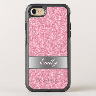 Monogrammed White And Pink Glitter OtterBox Symmetry iPhone 7 Case