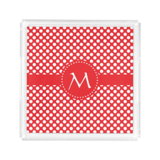 Monogrammed White and Red Polka Dot Acrylic Tray