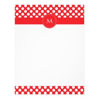 Monogrammed White and Red Polka Dot Letterhead