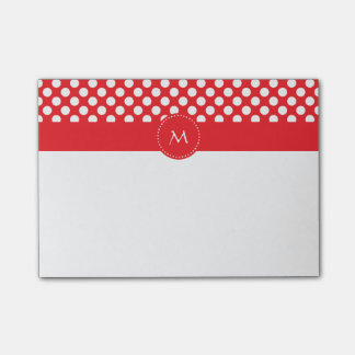 Monogrammed White and Red Polka Dot Post-It Notes