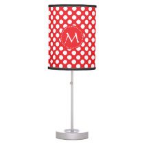 Monogrammed White and Red Polka Dot Table Lamp