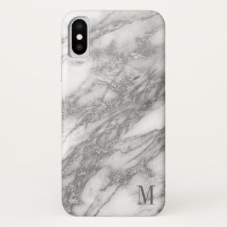 Monogrammed White And Silver Gray Marble iPhone X Case